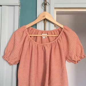Madewell: Orange striped blouse